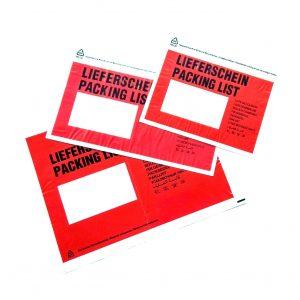 Červená obálka na dokumenty s priehľadným okienkom